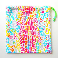 Gymnastics Grip Bag or Gift Bag Rainbow Cheetah Print by KarynRD80
