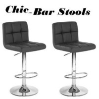 Chic Modern Adjustable Bar Stools - Black - Set of 2