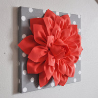 "Wall Flower Decor -Coral Dahlia on Gray and White Polka Dot 12 x12"" Canvas Wall Art- Baby Nursery Wall Decor-"