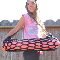 Yoga Mat Bag Hand Crocheted in Midnight Black by BlueEyedShell