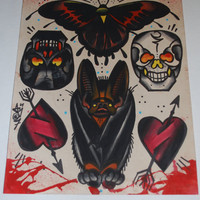 handpainted tattoo flash, bat hearts and skulls