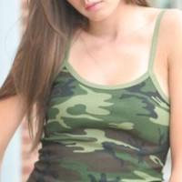 A.S. Tees High Quality Juniors Spaghetti Strap Tank Top Tanktop - Wood Camo