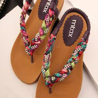 Colorful Braided Flat Sandals TW060506 from topsales