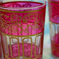 Pink Moroccan Tea Glasses S/4