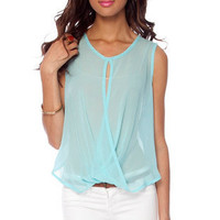 Fair Sheer Twisted Sleeveless Top in Sky Blue :: tobi