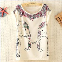 Cute Elephants Print Shirt with Flora Details WQE13