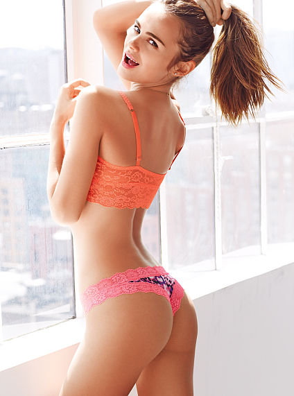 Lace trim mini cheekster panty pink from victoria s secret