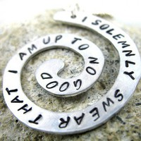 I Solemnly Swear That I Am Up To No Good Harry Potter Hand Stamped Spiral Necklace | foxwise - Jewelry on ArtFire