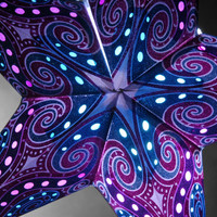 Star Lanterns Purple & Turquoise Blue 24 in. Glitter