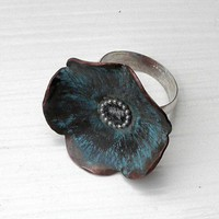 Patinaed Copper and Sterling Forget Me Not Ring | AnnaGraceDesigns - Jewelry on ArtFire