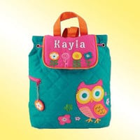 Quilted Backpack - Personalized and Embroidered - OWL AND FLOWERS