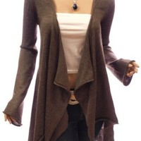 Patty Women Comfy Drape Front Asym Hem Bell Sleeve Jumper Cardigan