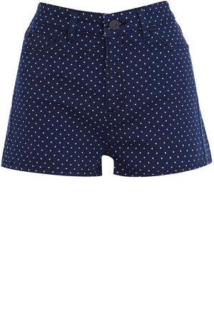 Oasis Sing the Blues | Multi Blue 50s Spot Print Shorts | Womens Fashion Clothing | Oasis Stores UK