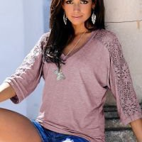 Long Sleeve Lace sleeve v-neck top