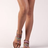 Bamboo ASHLEY-51 Tribal Print Gladiator Flat Sandal