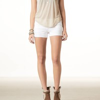 AEO Women's White Denim Midi Short (White)