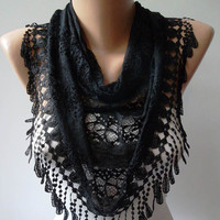 Black Lace and Elegance Shawl / Scarf with Lace by SwedishShop