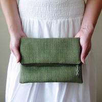 Grasslands Foldover Clutch - Green Textured Vintage Fabric -  Fully Lined with Organic Linen - Eco Friendly