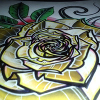 yellow rose print, rose tattoo rose, original tattoo art