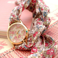 Chiffon Band Flora Print Watch VBA