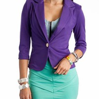 padded shoulder single button blazer $31.10 in BLACK FUCH MUSTARD PURPLE RED RYLBLU - Outerwear | GoJane.com