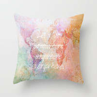 Let's Go Everywhere Throw Pillow by Ally Coxon