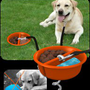 Better Tether Dog Tether is a Dog Water and Food Bowl that Secures Into the Ground with a lead attached