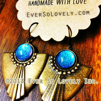 Cassiopeia Blue Violet Northern Sky Earrings - handmade nickel free dangle star earrings