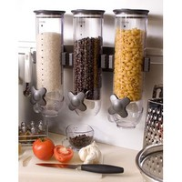 Zevro WM300 Indispensable SmartSpace Wall Mount Triple Dry-Food Dispenser