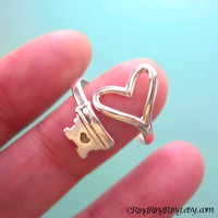 Adjustable heart key ring jewelry 925 sterling by RingRingRing