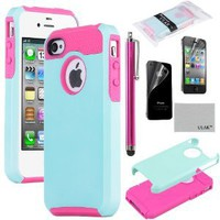 Pandamimi ULAK 2 In 1 Hybrid Hot Pink TPU and Aqua Blue Hard Case Cover For iPhone 4 4S with Screen Protector and Stylus