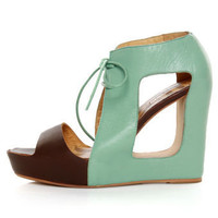 Matiko Paris Light Blue & Brown Lace-Up Cutout Wedges - $169.00