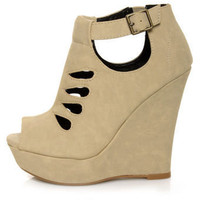 Qupid Bikini 167 Stone Nubuck Cutout Platform Wedges