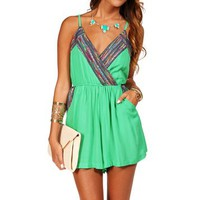 Green Ethnic Embroidered Romper