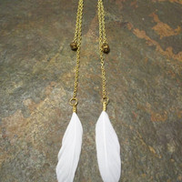 Fly to Heaven Long White feather earrings by BrandimariesBoutique