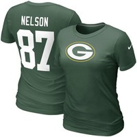 Nike Jordy Nelson Green Bay Packers #87 Women's Replica Name & Number T-Shirt - Green