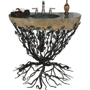 "Embracious Aspen Forest Iron Sink Pedestal with Integrated Boulder Sink Finish: Silver Shimmer, Sink Size: 33""- 40"""