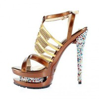 Bqueen Diamond Hollow Out High Heeled Sandals D083J - Women's Shoes - Shoes