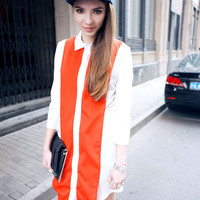 Half-sleeved Color Matching Chiffon Shirt Red:Buy at Sheinside
