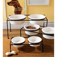 Paw Print Dog Bowl &amp; Dog Bowl Stand | Pottery Barn