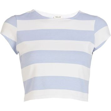 Blue and white stripe cap sleeve crop top
