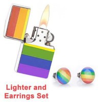 LGBT Gay and Lesbian Pride Rainbow Lighter w/ Free Gift SET - (Fluid Sold Separately)