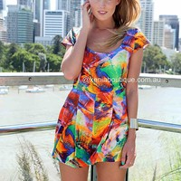 RAINBOW PRINT PLAYSUIT , DRESSES, TOPS, BOTTOMS, JACKETS & JUMPERS, ACCESSORIES, SALE, PRE ORDER, NEW ARRIVALS, PLAYSUIT, Australia, Queensland, Brisbane