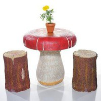 Great Big Mushroom Table with Treestump Stools : Giant Mushroom Table with Treestump Stools