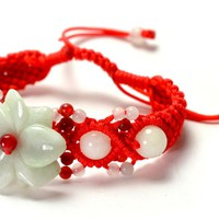 Elegant Jadeite Jade Flower Bracelet, Red Hand Knitted Jade decorated Cord - 6-10 inches - Fortune Jade Fashion Jewelry