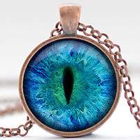 CIJ SALE Animal Eye Necklace, Third Eye Jewelry, Evil Eye Charm, Eyeball Pendant (938)