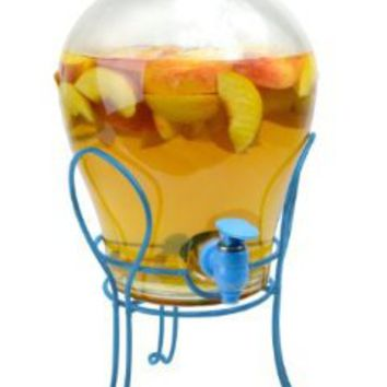 Primula Key West Non-Clogging Glass Beverage Dispenser with Plastic Spigot, Silicone Infuser and Wire Stand, Blue:Amazon:Kitchen & Dining
