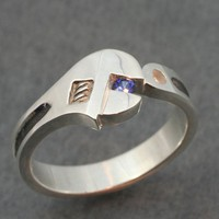 WRENCH WEDDING BAND with Genuine Sapphire A real by BandScapes
