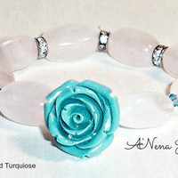 "Bracelet:Turquiose rose, rose quartz and swaroski crystals ""Forever Rose"""