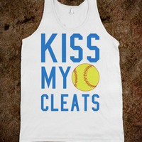KISS MY CLEATS SOFTBALL TANK TOP TEE T SHIRT